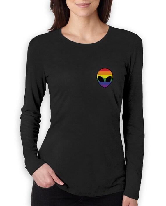 Gay Alien Head UFO Rainbow Flag Gay Pride Women Long Sleeve T-Shirt 0f9c49e60e