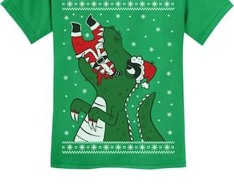 Santa Claws Ugly Christmas T-Rex VS Santa Funny Youth Kids T-Shirt