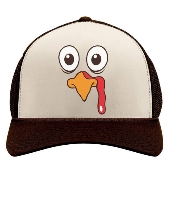 29380e06bc8 Thanksgiving Turkey Face Funny Holiday Trucker Hat Mesh Cap