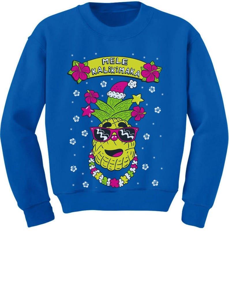 Mele Kalikimaka Hawaiian Pineapple Ugly Christmas Youth Kids Sweatshirt