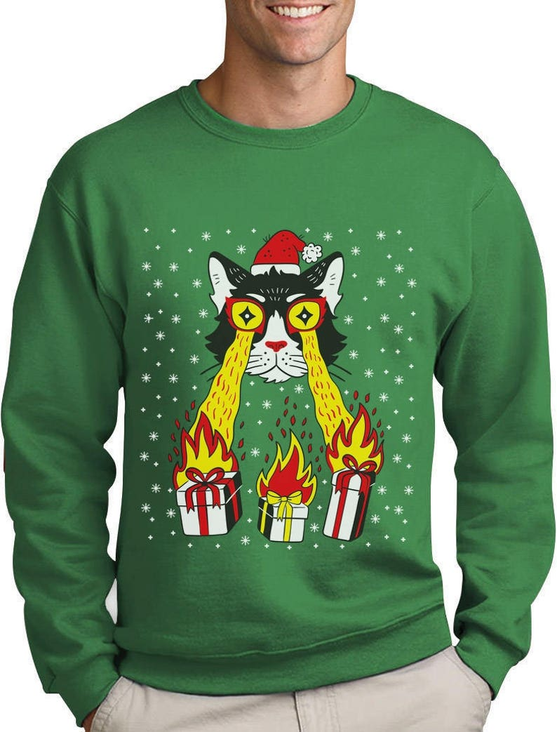 6eb407caa910b Holidays Funny Laser Eyes Xmas Cat Ugly Christmas Sweatshirt | Etsy