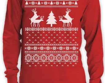 Humping Reindeer Funny Ugly Christmas Sweater Men's Long Sleeve T-Shirt
