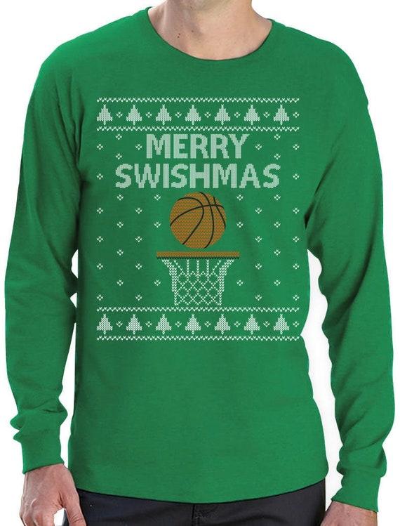 Tstars Merry Christmas Swishmas Ugly Sweater for Basketball Lovers Women Sweatshirt