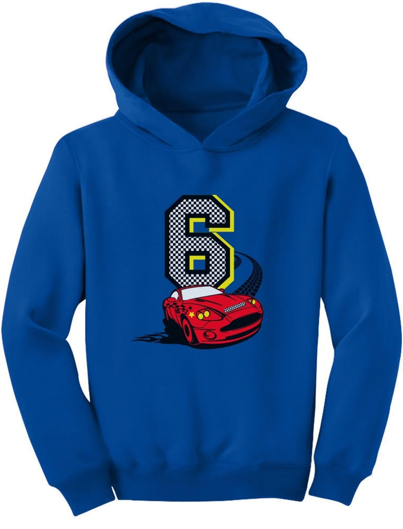 6th Birthday 6 Year Old Boy Race Car Party Toddler Hoodie
