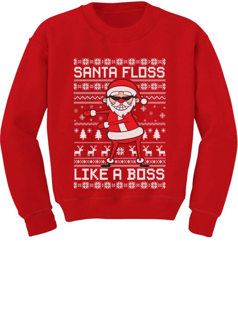 Santa Floss Like a Boss Ugly Christmas Sweater Youth Kids Sweatshirt
