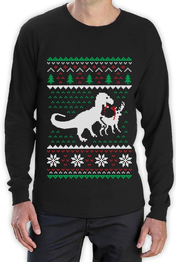 T Rex Christmas Sweater.Ugly Christmas Sweater T Rex Vs Reindeer Funny Xmas Long Sleeve T Shirt