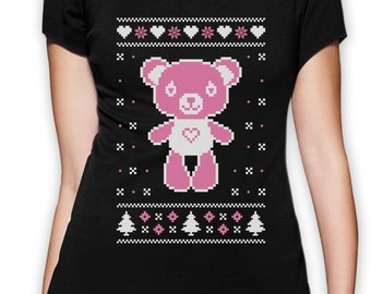 Pink Christmas Teddy Bear - Women's T-Shirt