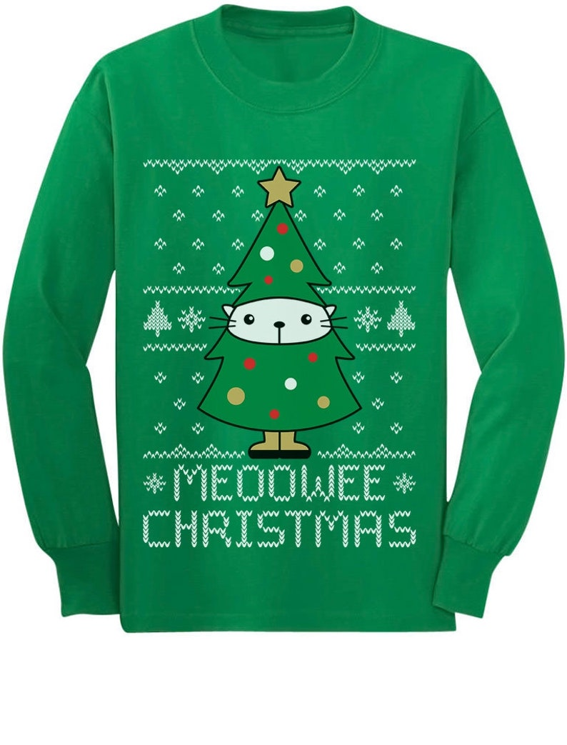 25d29bad9f9c93 Meoowee Christmas Ugly Meowy Sweater Cat Lovers Toddler/Kids | Etsy