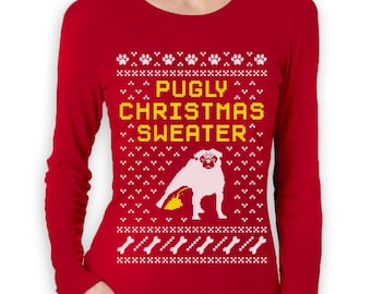 Pugly Ugly Christmas Sweater - Women's Long Sleeve
