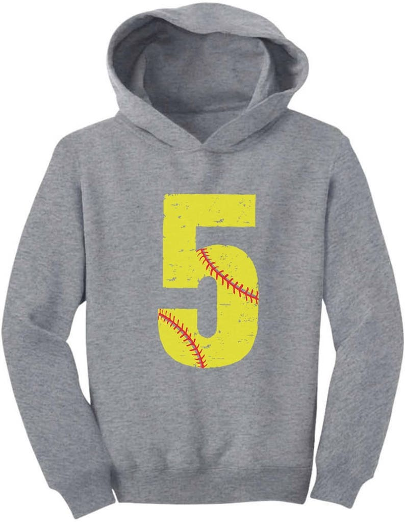 Softball 5th Birthday Gift For Five Year Old Toddler Hoodie