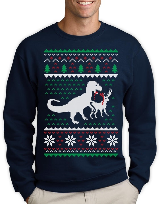 Christmas Sweaters For Men.T Rex Vs Reindeer Ugly Christmas Sweater Men Funny Sweatshirt