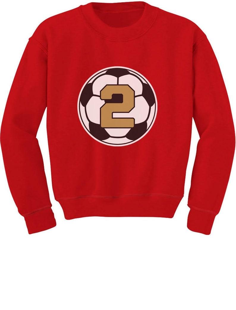 2 Year Old Second Birthday Gift Soccer Toddler Kids Sweatshirt