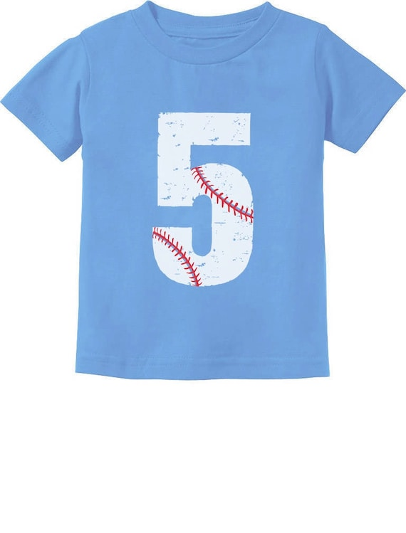 Softball 5th Birthday Gift for Five Year old Toddler//Kids Long sleeve T-Shirt 5