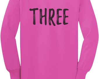3rd Birthday Gift For Three Year Old Child Toddler/Kids Long sleeve T-Shirt