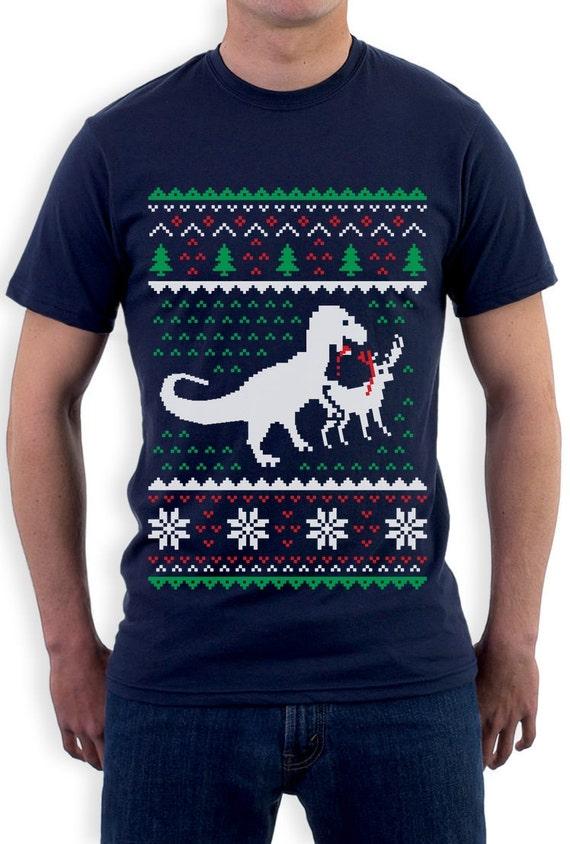 Hässliche Weihnachten Pullover T Rex VS Rentier lustige Xmas Kurzarm T Shirt