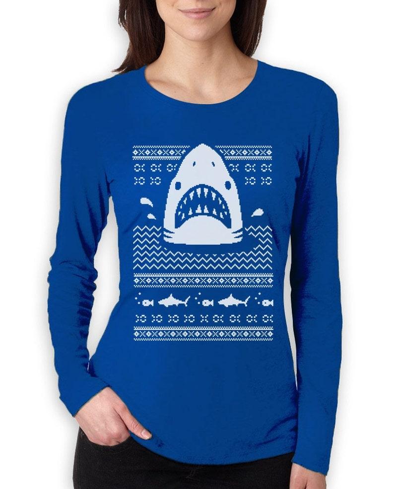 f2b7e048fd Great White Shark Ugly Christmas Sweater Women's Long   Etsy
