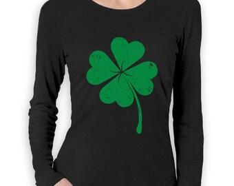 Faded Green Shamrock - St. Patrick's Day - Women's Long Sleeve T-Shirt