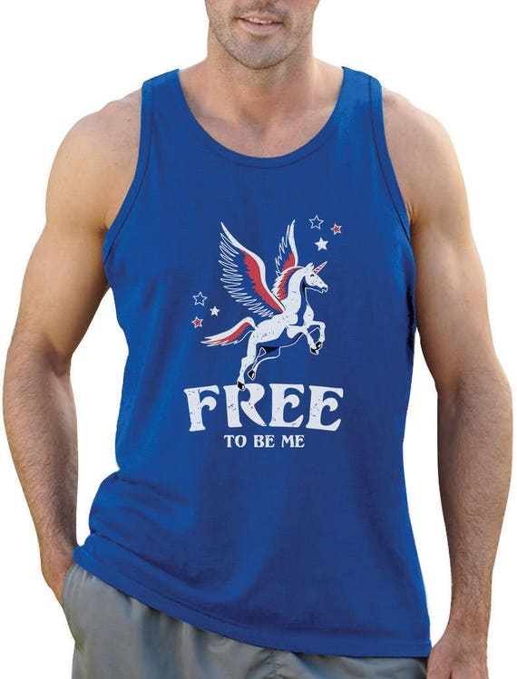 Libre d'être moi - Magical Flying Unicorn 4th of July - débardeur Singlet hommes