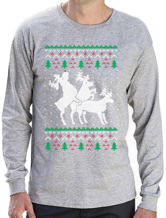 Humping Reindeer Threesome Ugly Christmas Sweater Men's Long Sleeve T Shirt