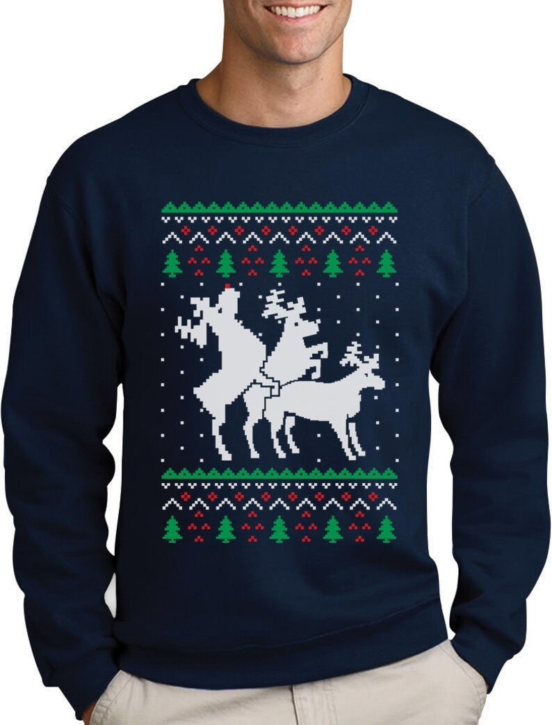 ea2af6d8f3b Humping Reindeer Threesome Ugly Christmas Sweater Men s