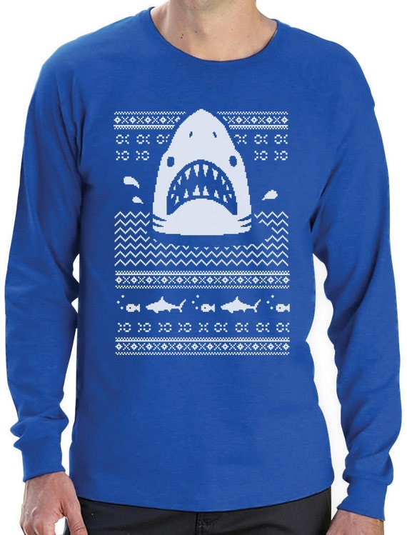 c39eaef8f5 Great White Shark Ugly Christmas Sweater Men's Long Sleeve   Etsy