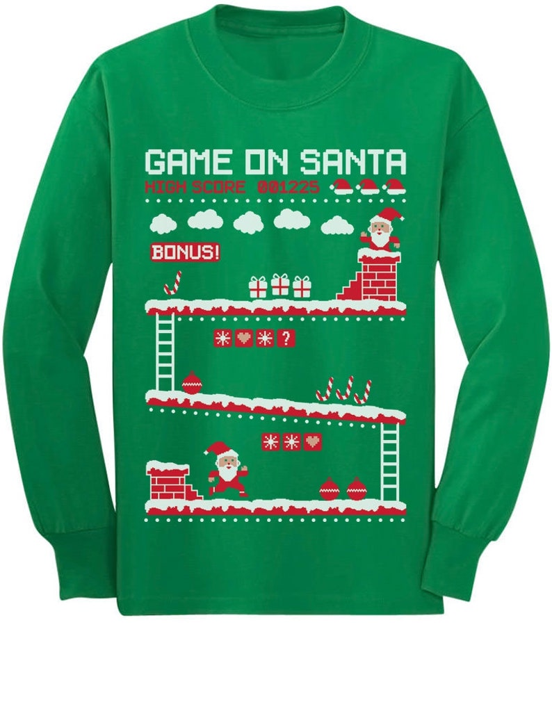 56fa7aede6a9 Santa 8bit Video Game gamers Ugly Christmas Toddler Kids Long