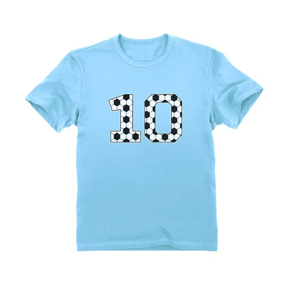 Soccer Fan 10th Birthday Gift for 10 Year Old Girls Fitted Kids T-Shirt