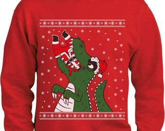 Santa Claws Ugly Christmas Sweater T-Rex VS Santa Funny Sweatshirt