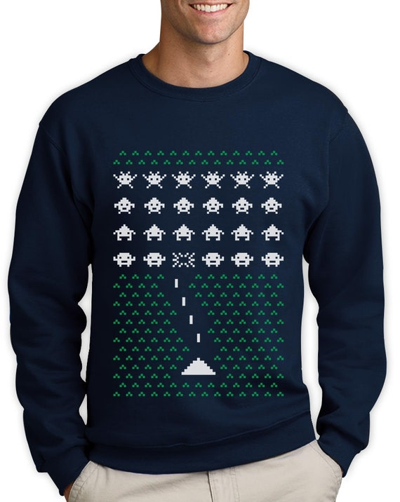 Geek Space Invaders Ugly Christmas Sweater Men Funny Etsy