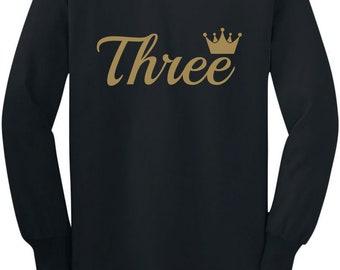 Third Birthday Gift 3 Year Old Birthday Crown Toddler/Kids Long sleeve T-Shirt