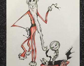 Jack Skellington fan-art drawing A4 , tim burton inspired
