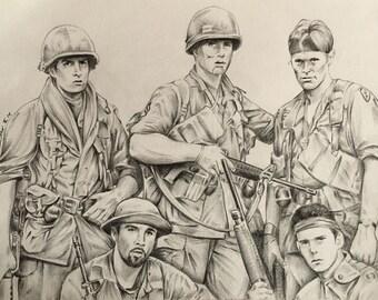 Platoon original pencil drawing .A4 fan-art Charlie Sheen Willem Dafoe