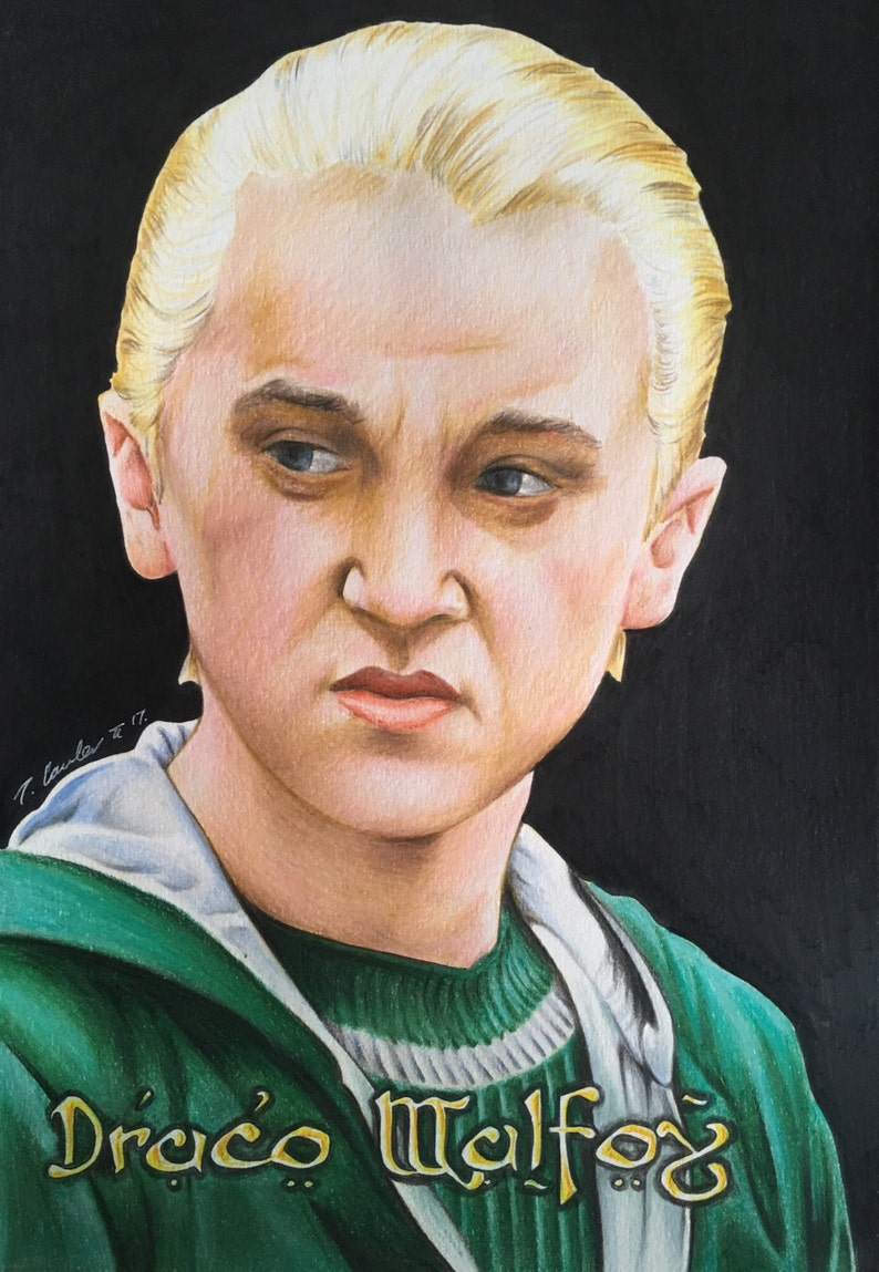 Draco Malfoy Original Pencil Drawing Fan Art A4 Harry Potter Etsy