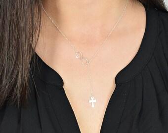 Cross and Infinity Lariat,  Lariat Y Necklace, Sterling Silver Lariat, Dainty Lariat, Infinity Cross, Minimalist Necklace, Y Necklace