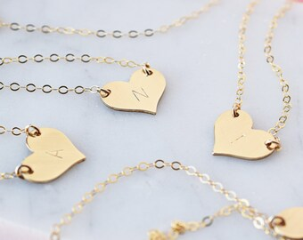 Tiny Offset Initial Necklace