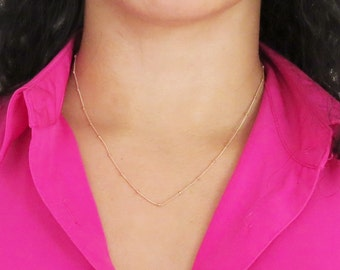 Dainty Rose Gold Necklace, Rose Gold Satellite Chain, Saturn Chain, Rose Gold Chain, Pink Gold, Dew Drops R143
