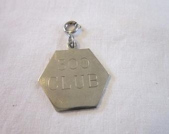 Charm Engraved 300 Club  Silvertone Charm Pendant