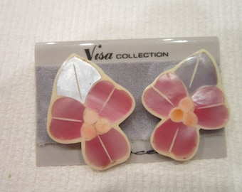Vintage Inlaid Fancy mother of pearl Visa Collection pierced Earrings