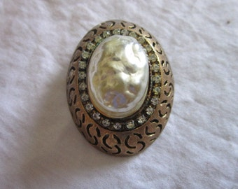1950's Rare Signed HAR Large Fancy Pearl & Rhinestone Brooch