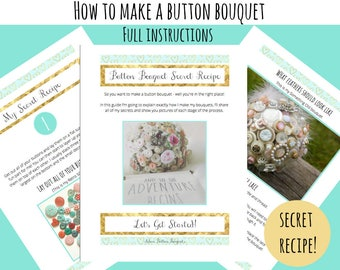 How to Make a Button Bouquet / Secret Recipe / Full Instructions and Pictures / Making a Button Bouquet / Button Bouquet Instructions