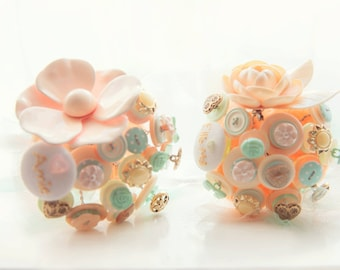 Flower Girl Button Bouquet | Peach, Gold and Mint Vintage Wedding | Small Bridesmaid Bouquet | Button Bouquet