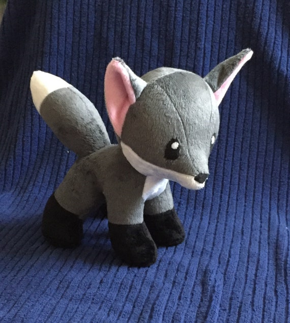 Gray Fox Kitsune Plush Toy Plushie Dog Animal Cute Stuffed Etsy