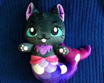 Mermaid Cat Plushie / Kitty Plush / Merkitty / Mercat/ Kitten Stuffed Animal