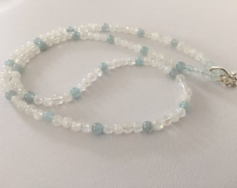Aquamarine, moonstone and crystal quartz necklace