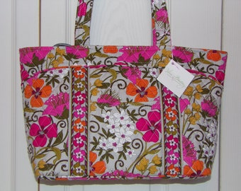 006ad86d1723 Vera Bradley Mady Tote Bag - Retired   Tea Garden   Pattern - New Has Tag  Never Used - NWT Shoulder Purse Gray Pink White - Top Zip Close