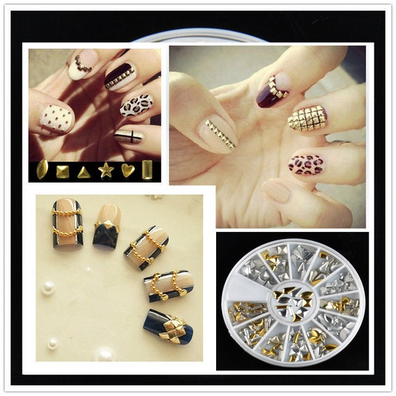 gold silver box rivets nail art 3d design decoration etsy