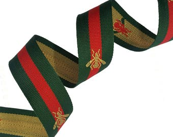 Grosgrain Green Red Striped Ribbon Trim with Bee, Embroidered Ribbon Trim 3 cm