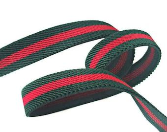 Green Red Rubber Elastic Trim, Striped Elastic Trim, Choker, headband trim