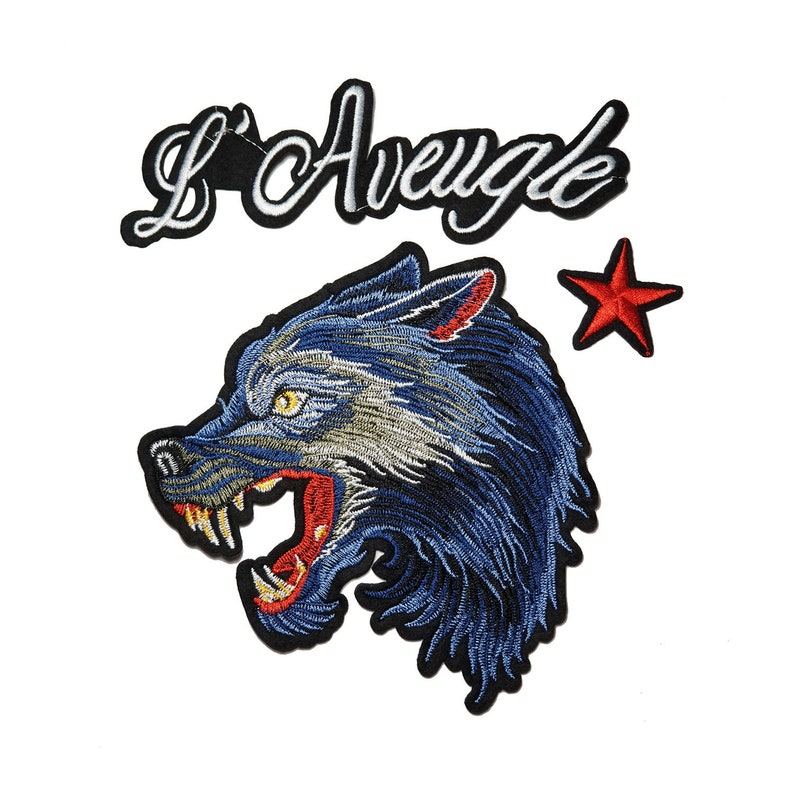 769df2fc2b0bb Set of Iron On Patches, Blue Wolf Patch, Mix of Embroidered Badges