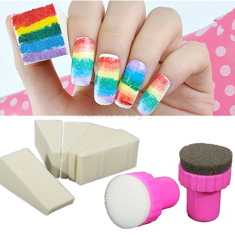 Nail Art Set Of Stamp Stamping Sponges Manicure Tools